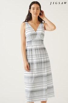 Jigsaw White Shirring Stripe Dress