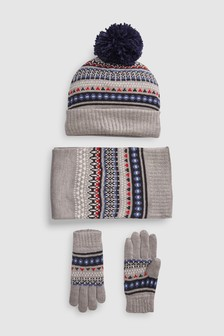Fairisle Pattern Hat, Scarf And Gloves Three Piece Set (Older)