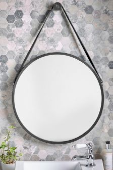 Faux Leather Strap Mirror