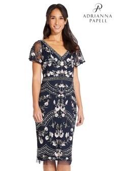 Adrianna Papell Blue Beaded Flutter Sleeve Dress