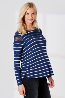 Maternity Long Sleeve Stripe Tee