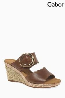 Gabor Brown Leather Sandal