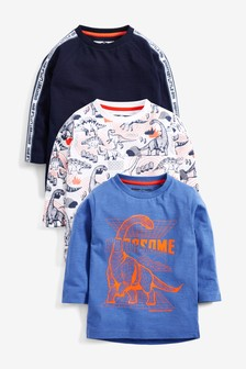 3 Pack Long Sleeve Dino T-Shirts (3mths-7yrs)