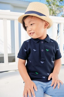 Short Sleeve Embroidered Dino Polo (3mths-6yrs)