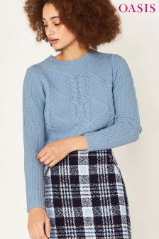 Oasis Blue Cable Knit Jumper