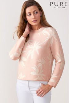 Pure Collection Knitted Palm Jacquard Sweater