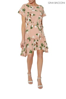 Gina Bacconi Natural Istra Floral Pebble Georgette Dress