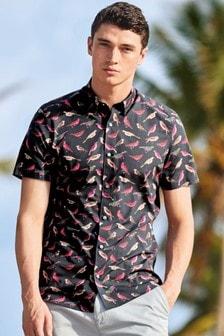 Short Sleeve Bird Print Shirt