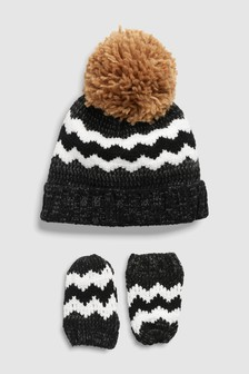 Chenille Hat And Mittens Two Piece Set (Younger)