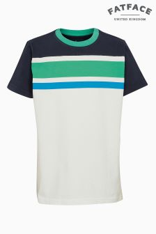 FatFace Navy Cut And Sew Stripe Tee