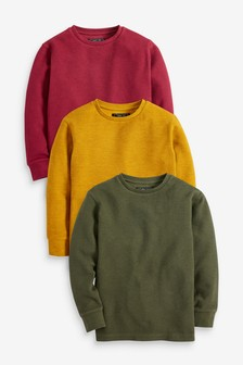 3 Pack Cosy Textured Long Sleeve T-Shirts (3-16yrs)