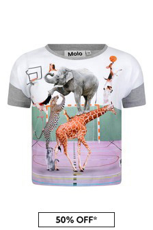 Girls Animal Pyramid Organic Cotton T-Shirt