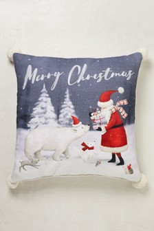 Merry Christmas Pom Pom Cushion