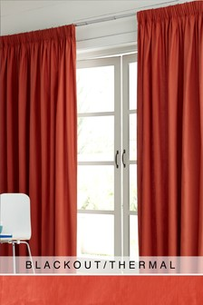 Cotton Pencil Pleat Blackout Thermal Curtains