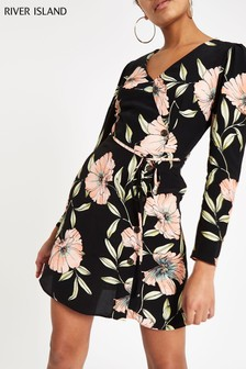 River Island Black Floral Tea Dress