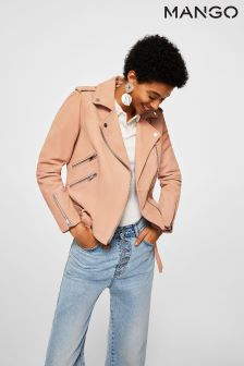 Mango Pink Leather Biker Jacket