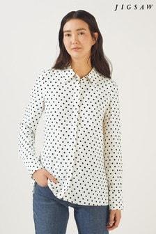 Jigsaw White Spot Print Shirt