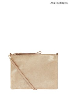 Accessorize Gold Metallic Claudia Leather Cross Body Bag
