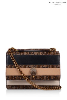 Kurt Geiger London Brown Monogram Shoreditch Bag