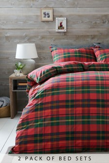 2 Pack Tartan Check Bed Set