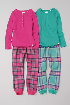 Check Woven Bottom Pyjamas Two Pack (3-16yrs)