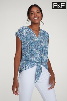 F&F Blue Paisley Pattern Tie Front Top