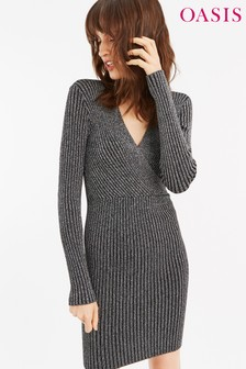 Oasis Silver Maya Rib Wrap Metallic Dress