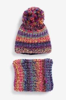 Комплект из шапки с помпоном и шарфа-снуда (Подростки)