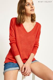 Mint Velvet V-Neck Raw Seam Detail Boxy Knit Top