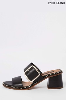 River Island Block Heel Stud And Buckle Mule
