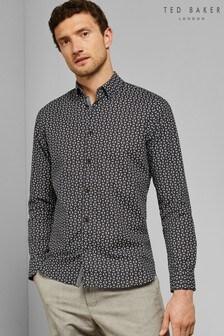 Ted Baker Black Long Sleeve Geo Shirt