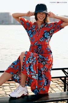 Tommy Hilfiger Red Voile Floral Long Dress