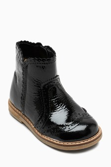 Patent Brogue Ankle Boots (Younger)