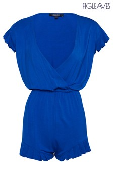 Figleaves Blue Rene Jersey Frill Playsuit