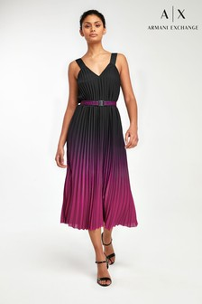 שמלת קפלים בגווני שחור/פוקסיה של Armani Exchange