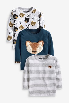3 Pack Long Sleeve Woodland Animals T-Shirts (3mths-7yrs)