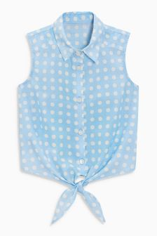 Spot Tie Front Blouse (3-16yrs)
