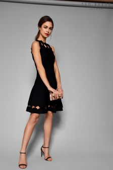 Ted Baker Bow Cherina Cut Out Neck Black Knit Dress