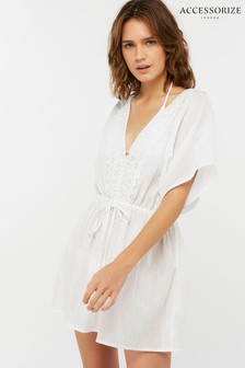 Accessorize White Lottie Lace Back Kaftan