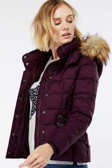 Monsoon Purple Holly Short Padded Coat