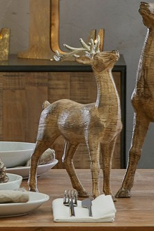 Small Carved Wood Effect Stag
