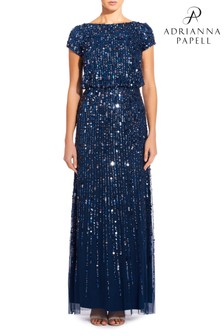 Adrianna Papell Blue Beaded Long Dress