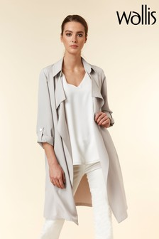 Wallis Silver Crepe Waterfall Jacket
