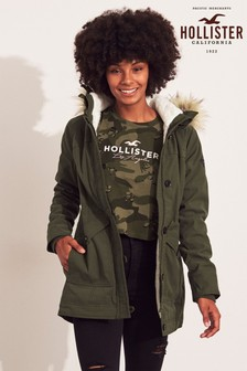 Hollister Khaki Teddy Parka Jacket