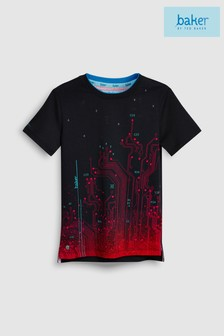 baker by Ted Baker In Red Printed Tracks Short Sleeve T-Shirt