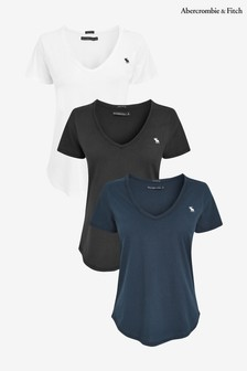 Abercrombie & Fitch Grey, Navy And White T-Shirts Three Pack