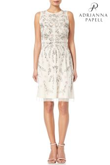 Adrianna Papell Ivory MultiColour Embellished Cocktail Dres