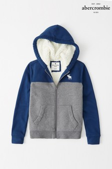 Abercrombie & Fitch Blue Sherpa Zip Through Hoody