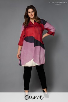 Live Unlimited Multi Abstract Print Shirt Dress