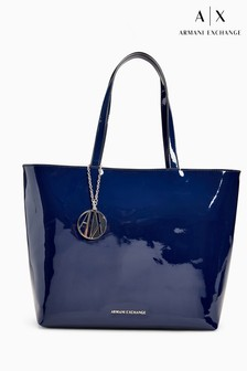 Armani Exchange Navy Patent Zip Top Shopper Bag